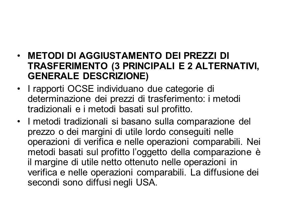 METODI DI AGGIUSTAMENTO DEI PREZZI DI TRASFERIMENTO (3 PRINCIPALI E 2 ALTERNATIVI, GENERALE DESCRIZIONE)