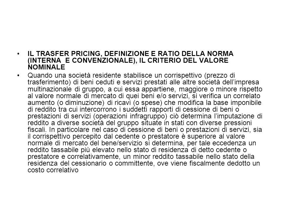 IL TRASFER PRICING, DEFINIZIONE E RATIO DELLA NORMA (INTERNA E CONVENZIONALE), IL CRITERIO DEL VALORE NOMINALE