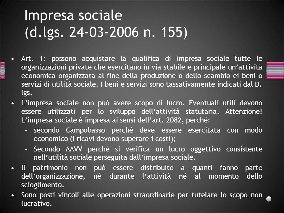 Impresa sociale (d.lgs. 24-03-2006 n. 155)