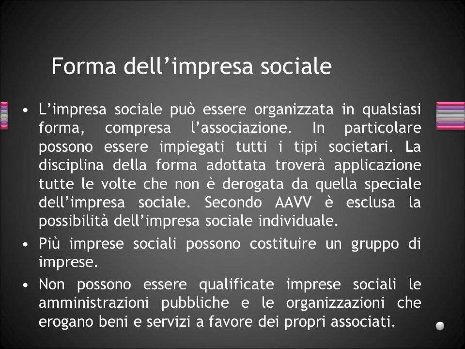 Forma dell'impresa sociale