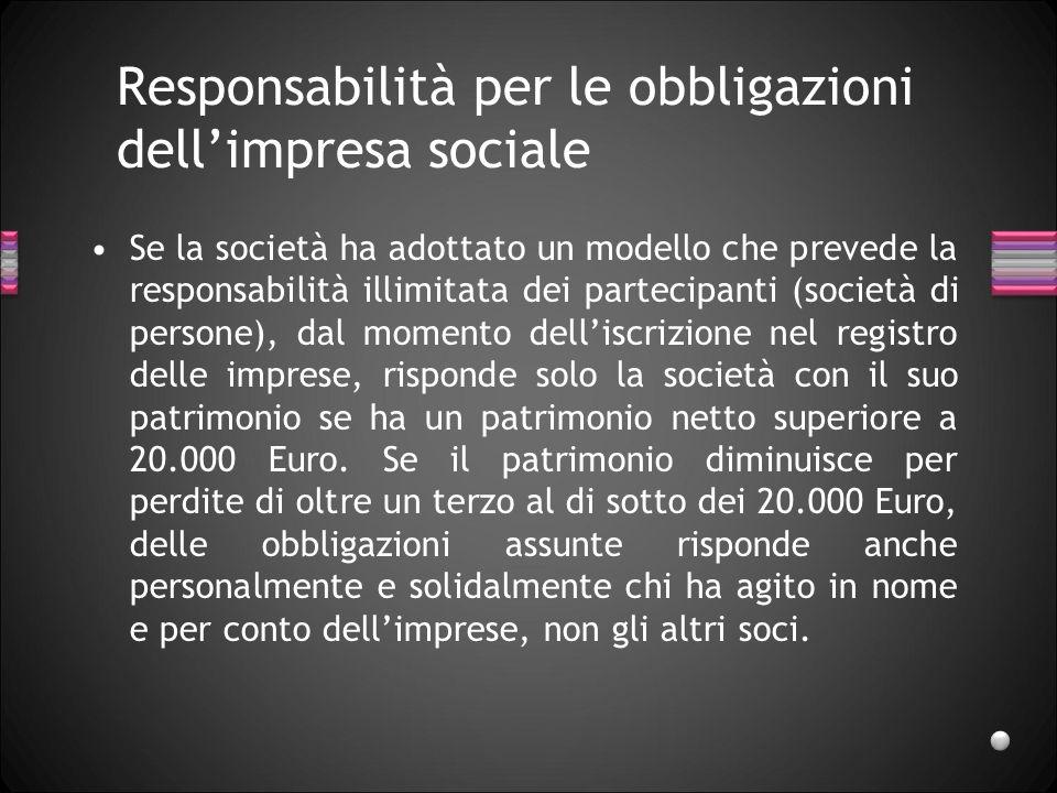 Responsabilità per le obbligazioni dell'impresa sociale