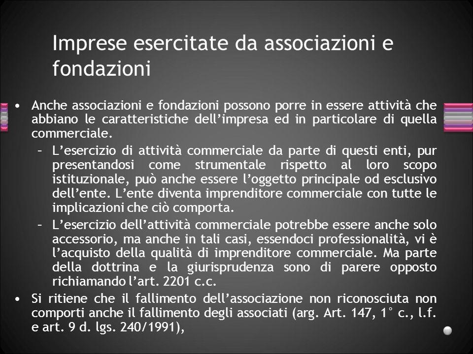 Imprese esercitate da associazioni e fondazioni