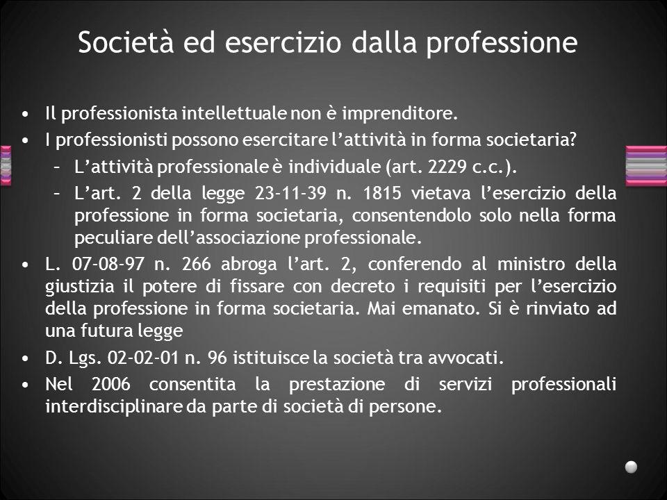 Società ed esercizio dalla professione