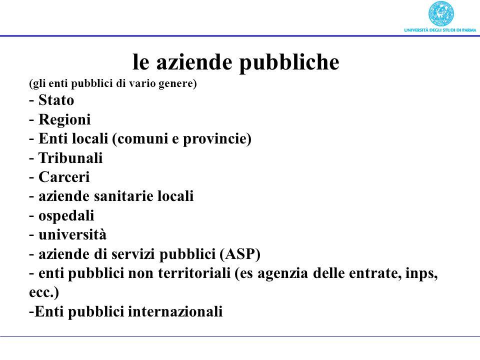Oggetto del corso le aziende pubbliche Stato Regioni