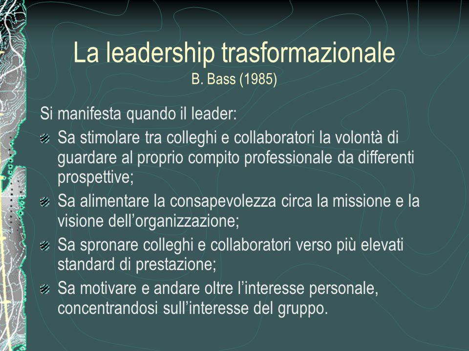 La leadership trasformazionale B. Bass (1985)