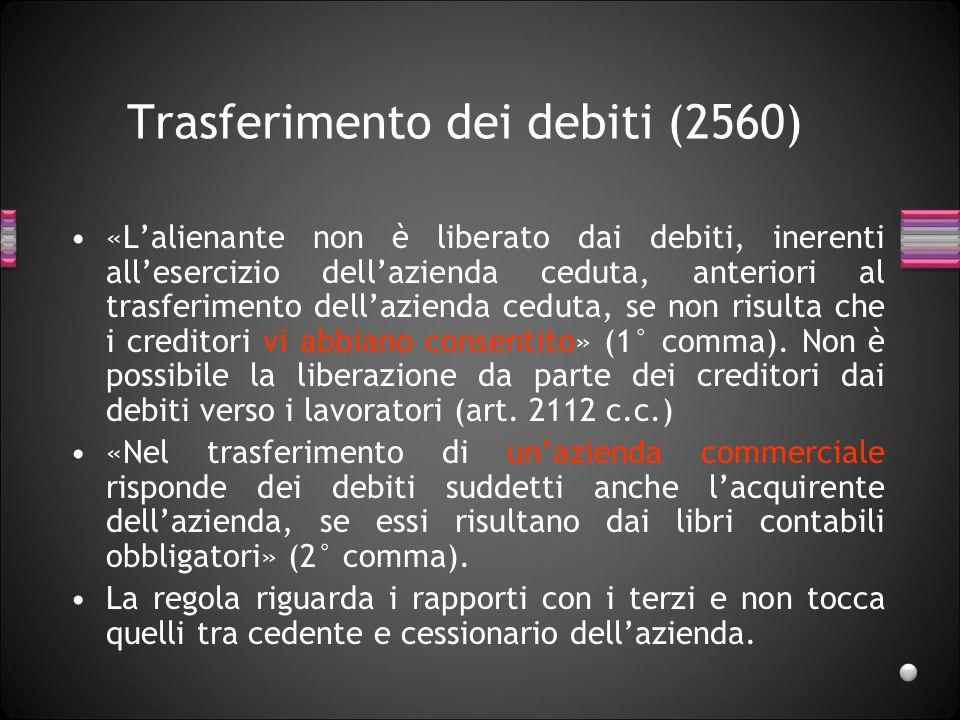 Trasferimento dei debiti (2560)