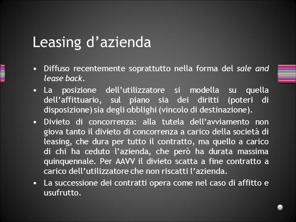 Leasing d'azienda Diffuso recentemente soprattutto nella forma del sale and lease back.