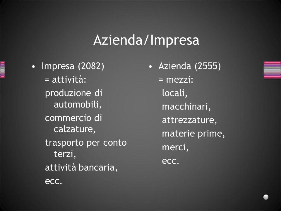 Azienda/Impresa Impresa (2082) = attività: produzione di automobili,