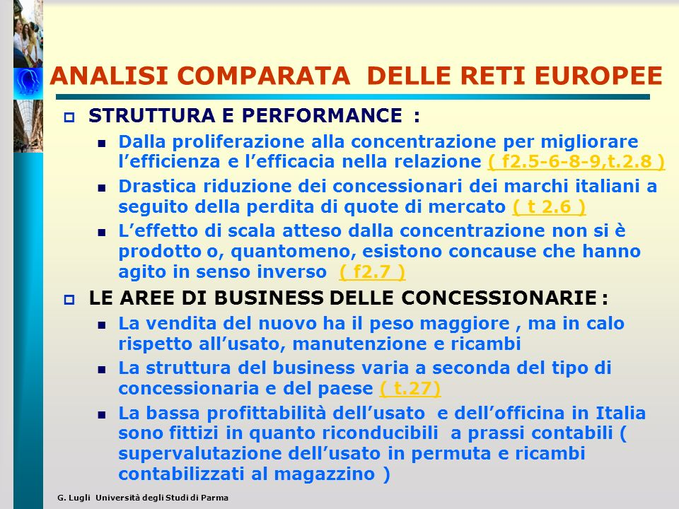 ANALISI COMPARATA DELLE RETI EUROPEE