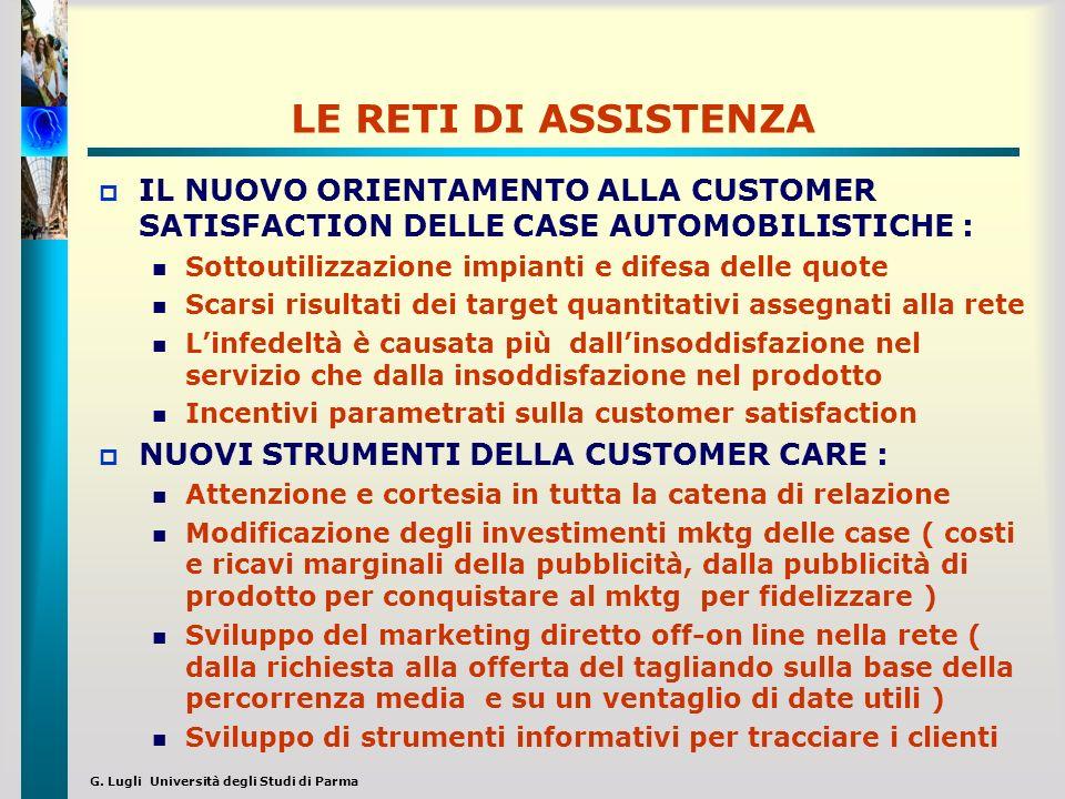 LE RETI DI ASSISTENZAIL NUOVO ORIENTAMENTO ALLA CUSTOMER SATISFACTION DELLE CASE AUTOMOBILISTICHE :