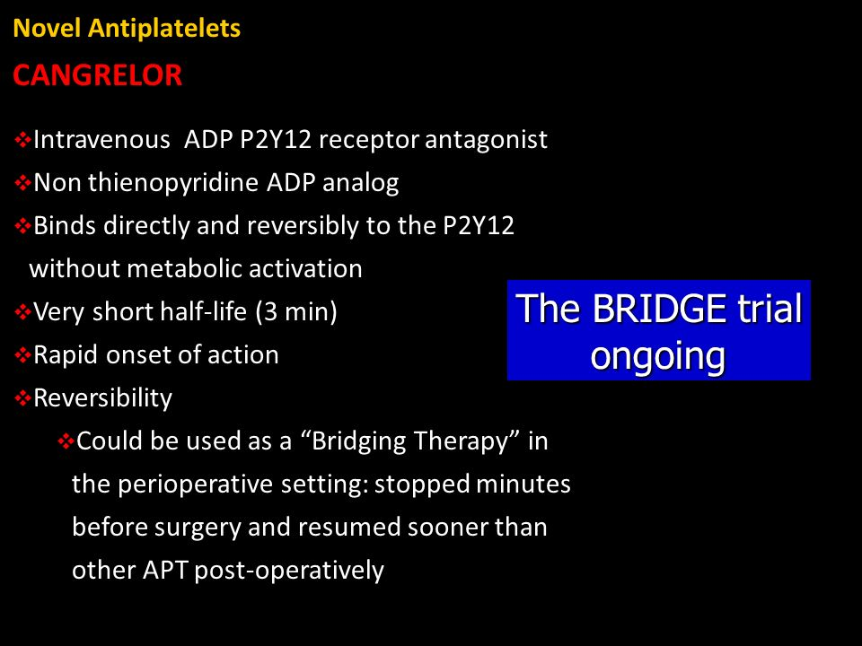 The BRIDGE trial ongoing CANGRELOR Novel Antiplatelets