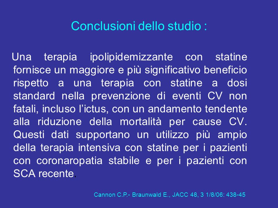 Conclusioni dello studio :
