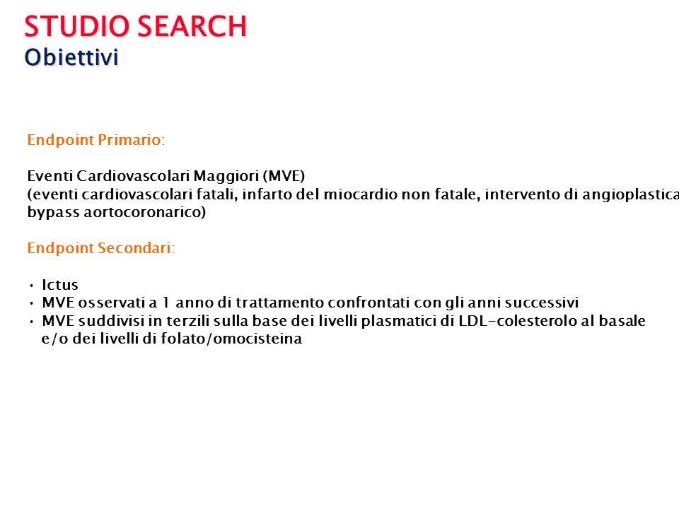 STUDIO SEARCH Obiettivi Endpoint Primario: