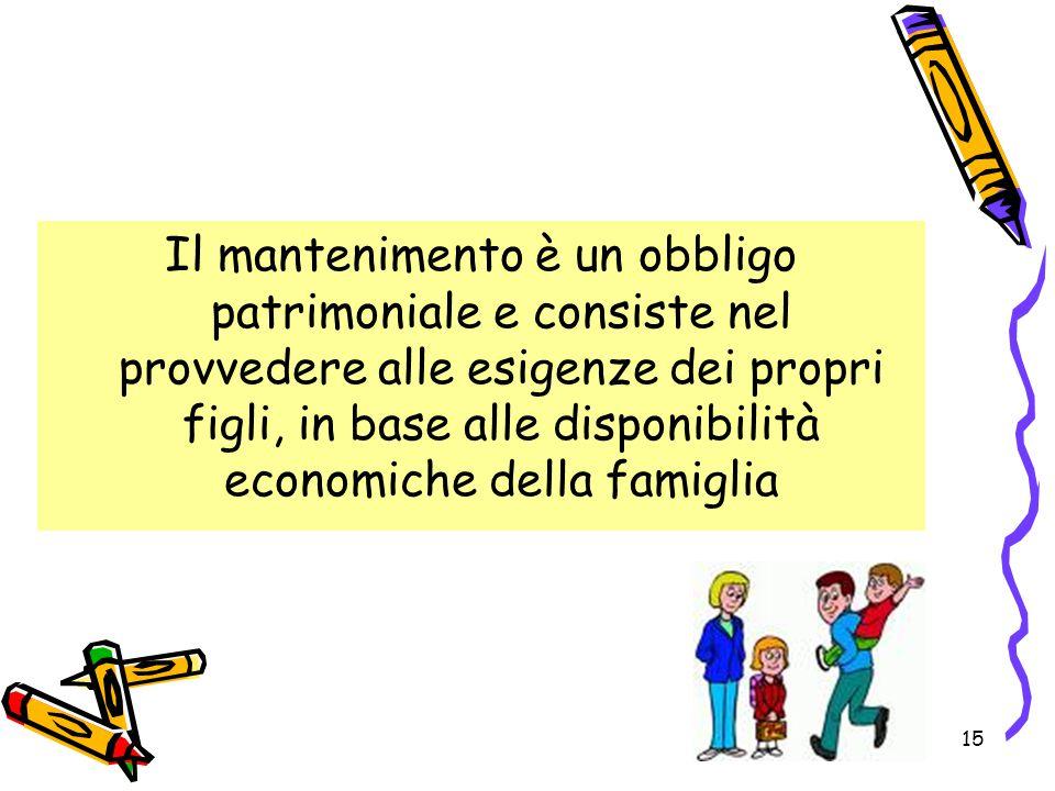 Il mantenimento è un obbligo patrimoniale e consiste nel provvedere alle esigenze dei propri figli, in base alle disponibilità economiche della famiglia