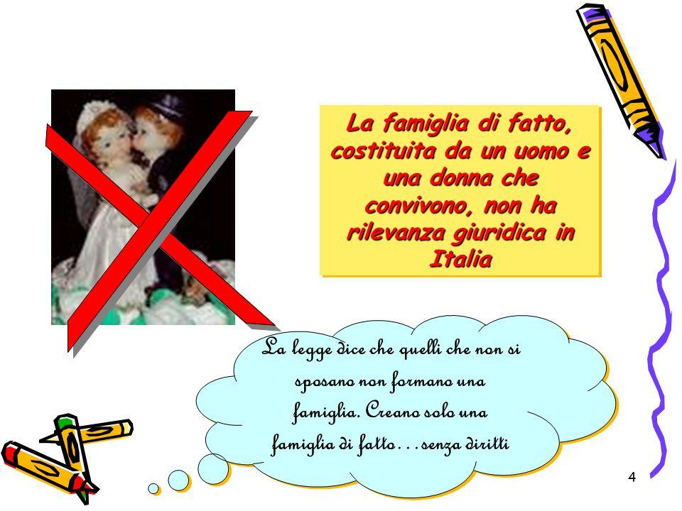 La famiglia di fatto, costituita da un uomo e una donna che convivono, non ha rilevanza giuridica in Italia