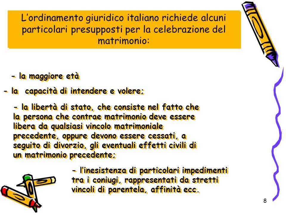L'ordinamento giuridico italiano richiede alcuni particolari presupposti per la celebrazione del matrimonio: