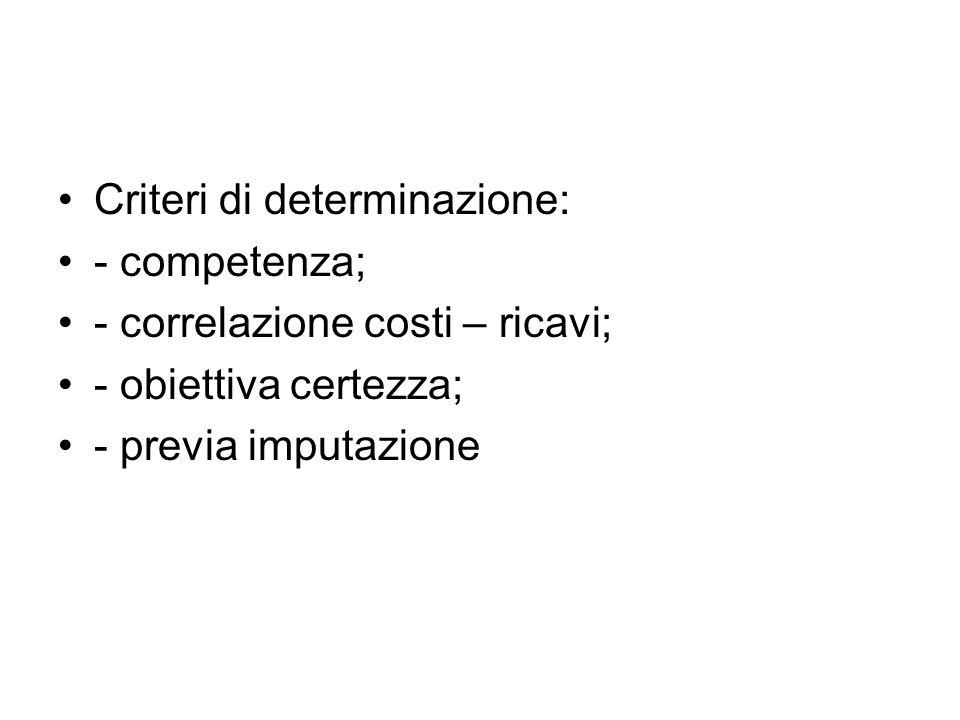 Criteri di determinazione: