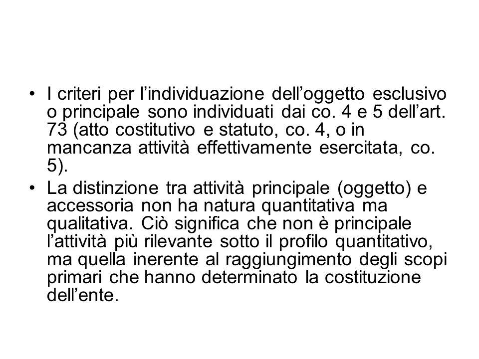 I criteri per l'individuazione dell'oggetto esclusivo o principale sono individuati dai co. 4 e 5 dell'art. 73 (atto costitutivo e statuto, co. 4, o in mancanza attività effettivamente esercitata, co. 5).