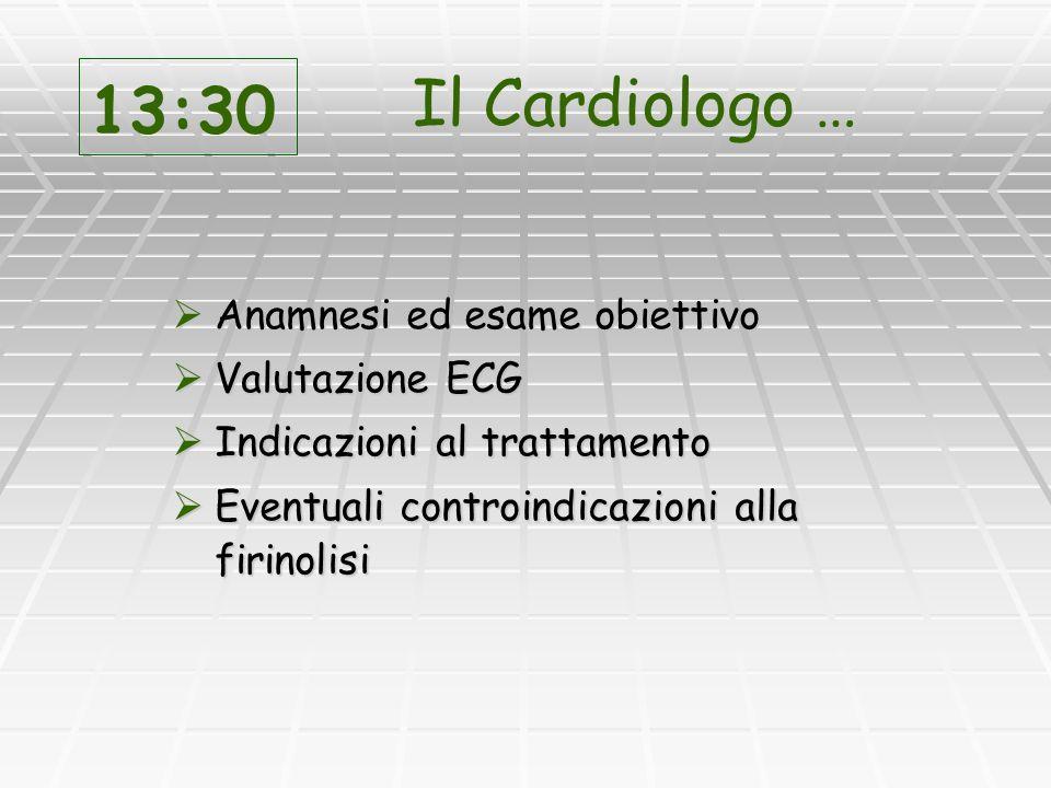 13:30 Il Cardiologo … Anamnesi ed esame obiettivo Valutazione ECG