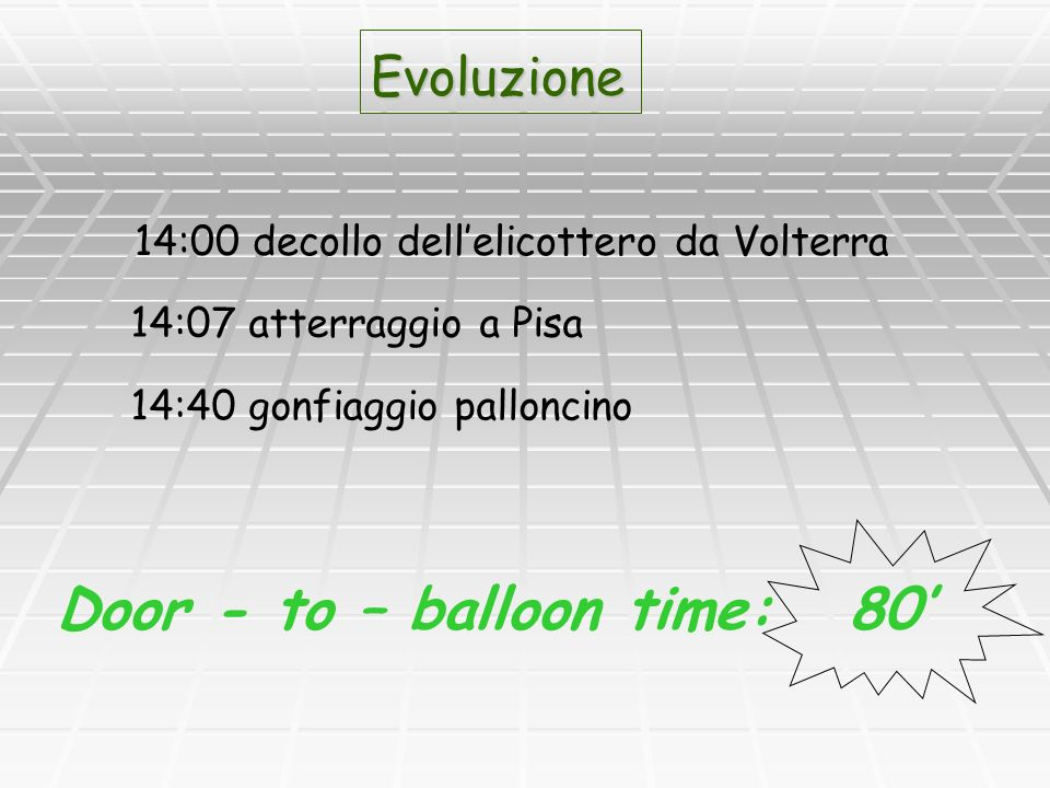Door - to – balloon time: 80'