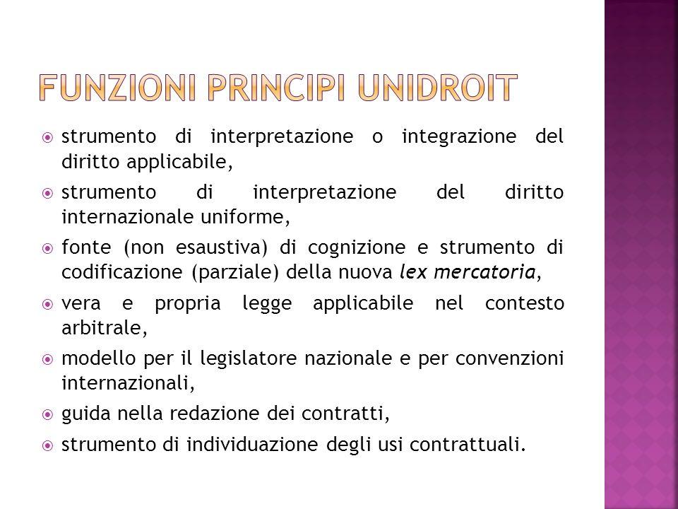 Funzioni principi unidroit