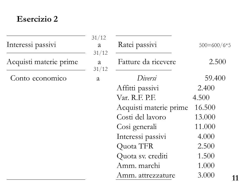 Esercizio 2 Interessi passivi a Ratei passivi 500=600/6*5