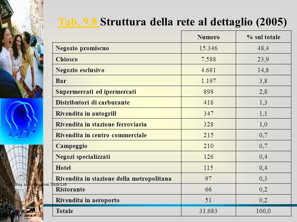 Tab. 9.8 Struttura della rete al dettaglio (2005)
