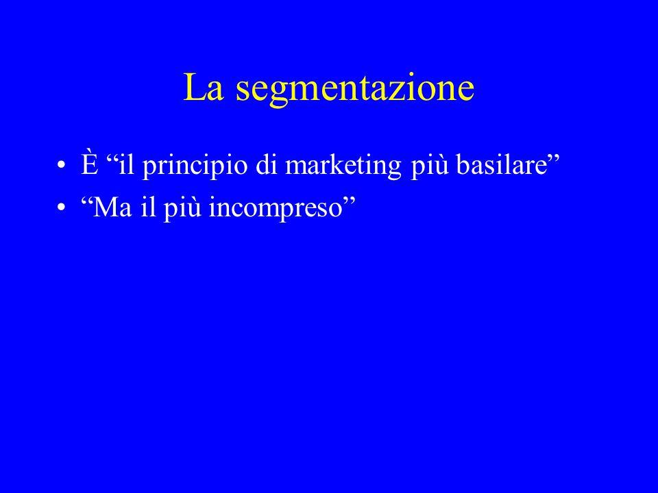 La segmentazione È il principio di marketing più basilare