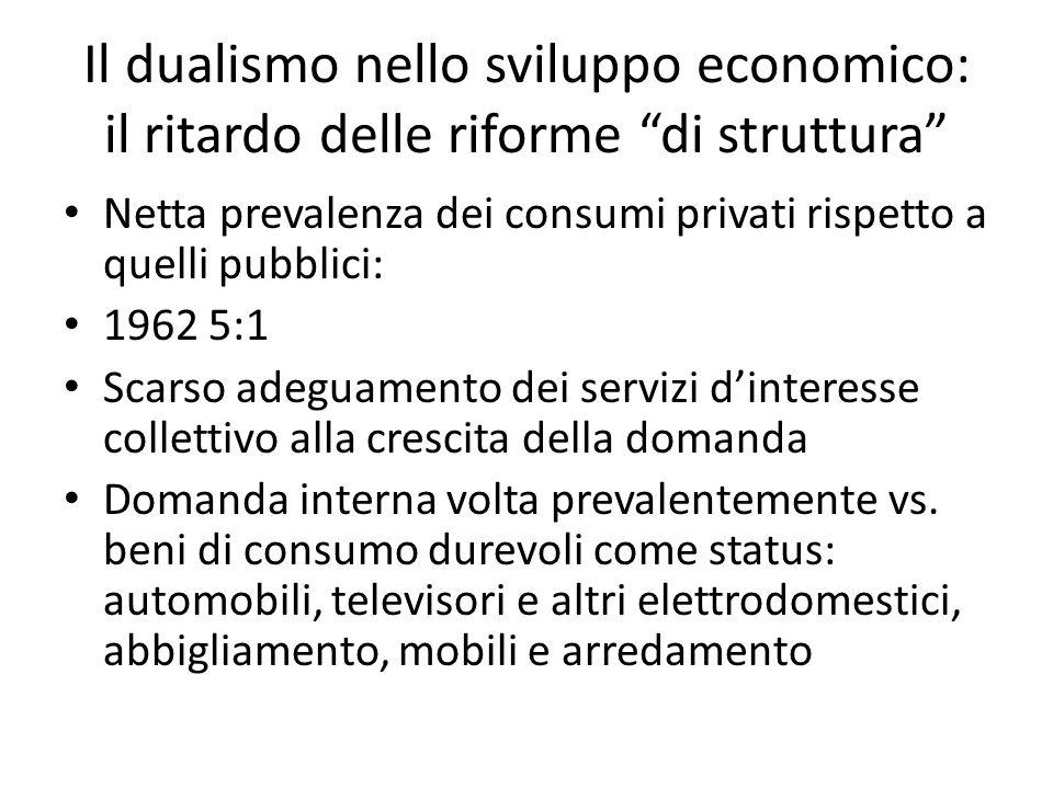 Il dualismo nello sviluppo economico: il ritardo delle riforme di struttura