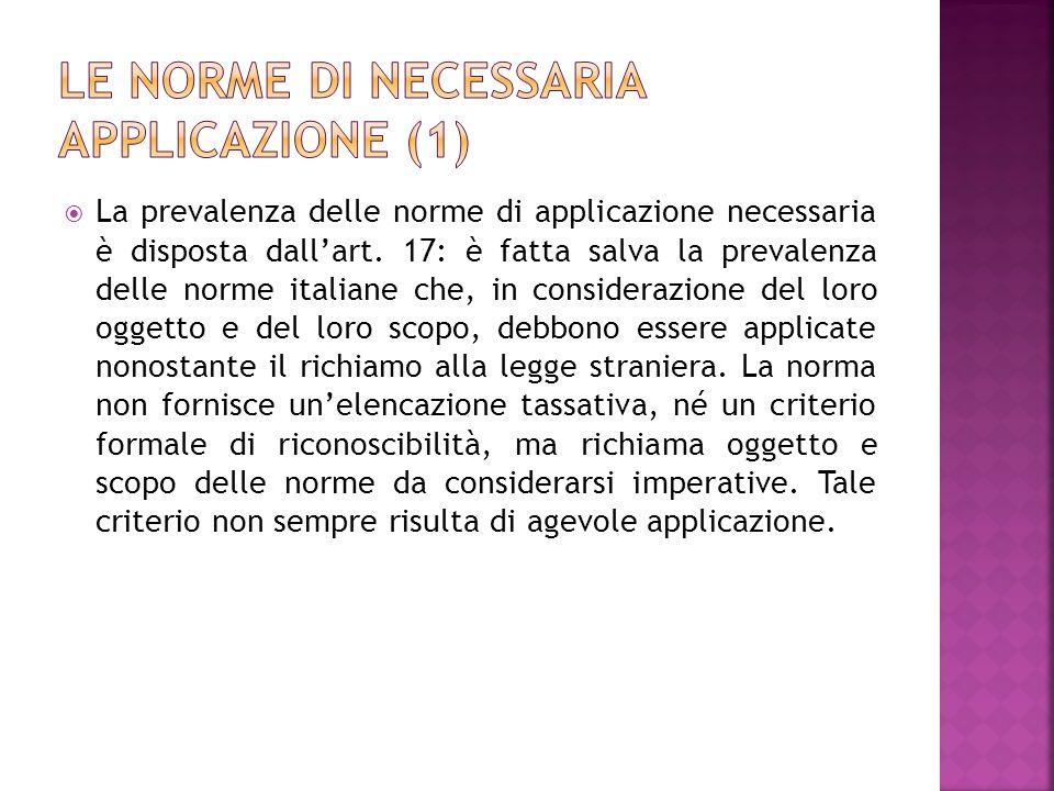 Le norme di necessaria applicazione (1)