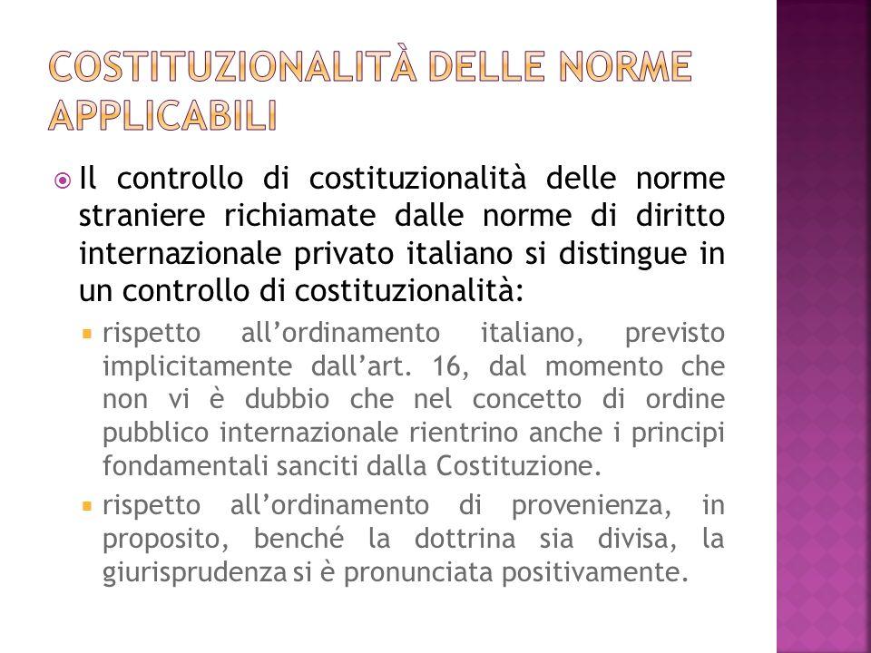 Costituzionalità delle norme applicabili