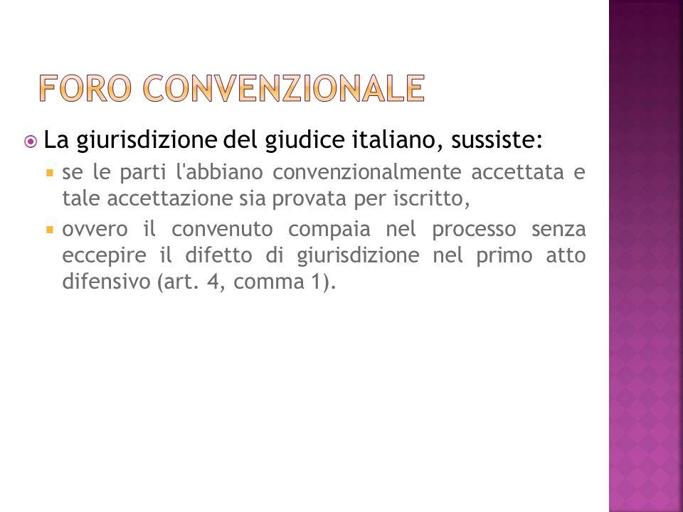 Foro convenzionale La giurisdizione del giudice italiano, sussiste: