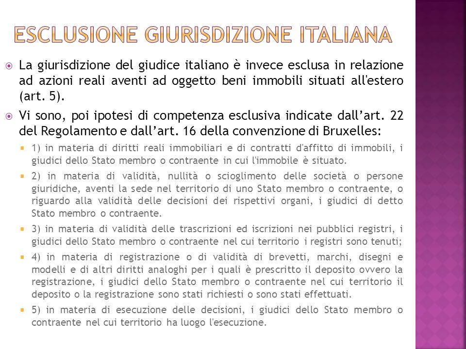 Esclusione giurisdizione italiana