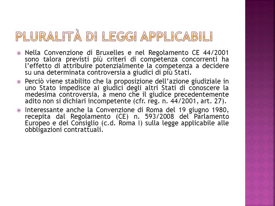 Pluralità di leggi applicabili