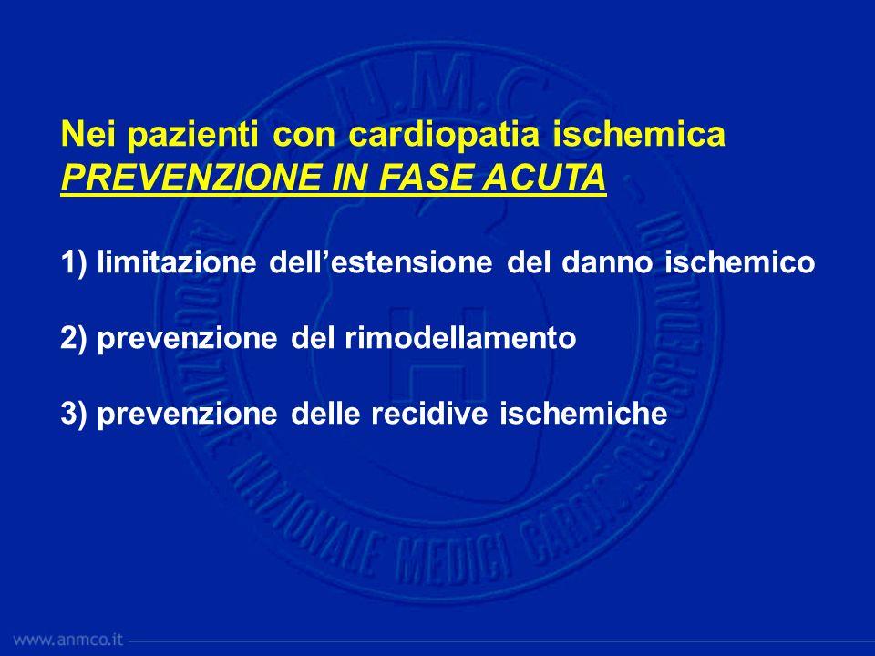 Nei pazienti con cardiopatia ischemica PREVENZIONE IN FASE ACUTA