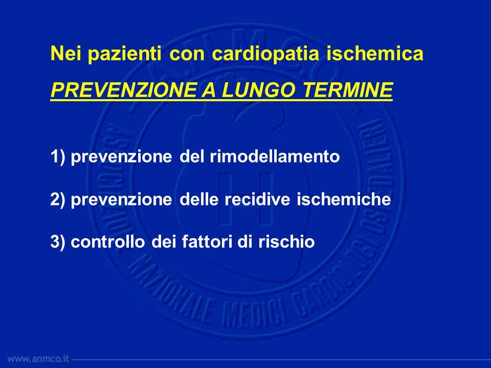 Nei pazienti con cardiopatia ischemica PREVENZIONE A LUNGO TERMINE