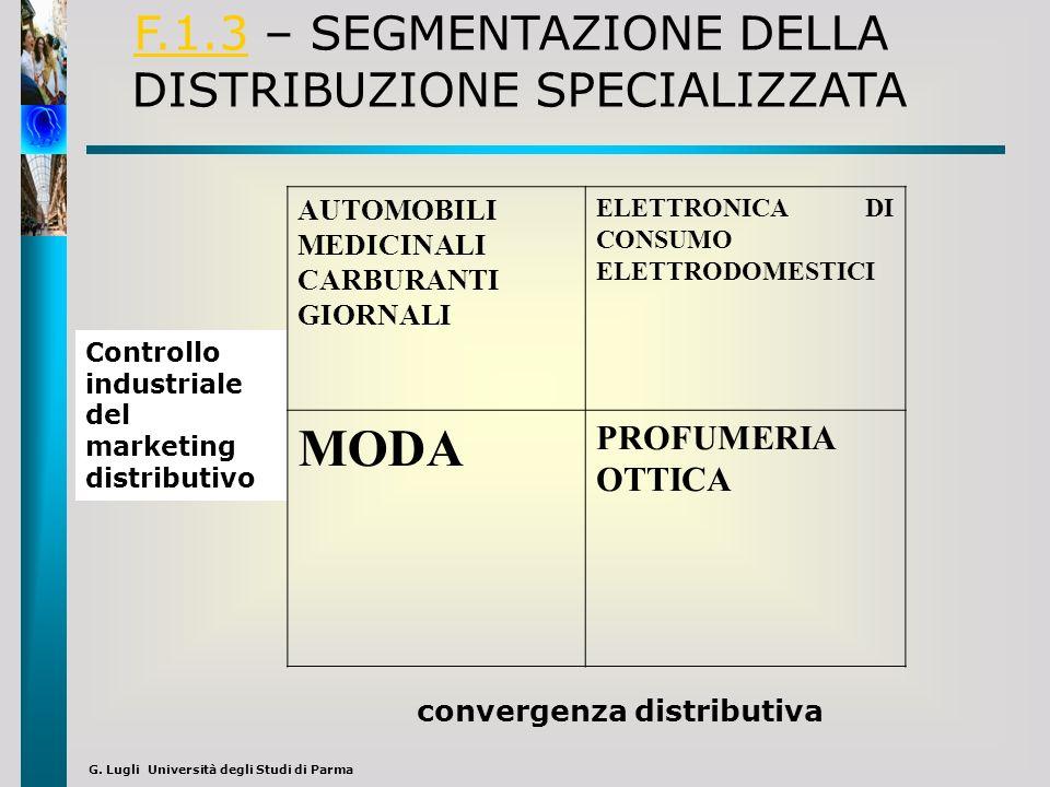 MODA F.1.3 – SEGMENTAZIONE DELLA DISTRIBUZIONE SPECIALIZZATA