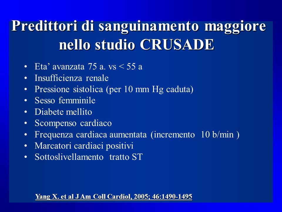 Predittori di sanguinamento maggiore nello studio CRUSADE