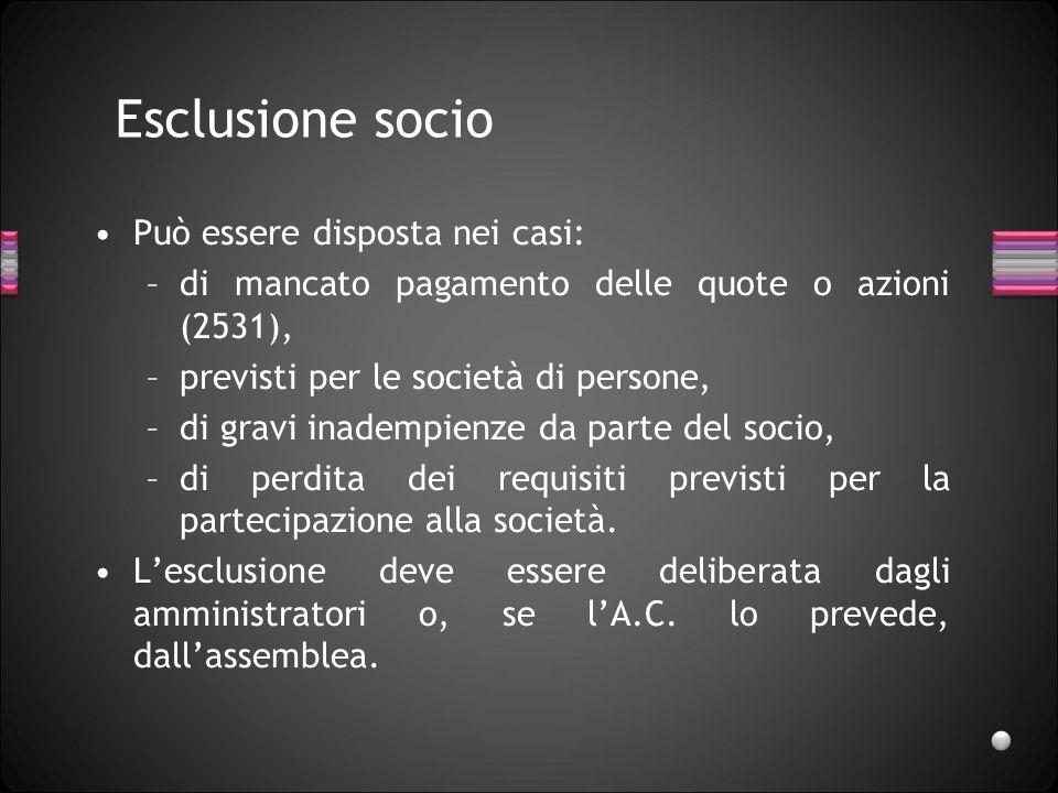Esclusione socio Può essere disposta nei casi: