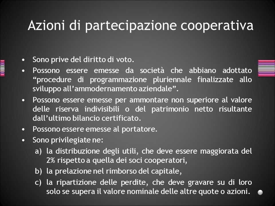 Azioni di partecipazione cooperativa