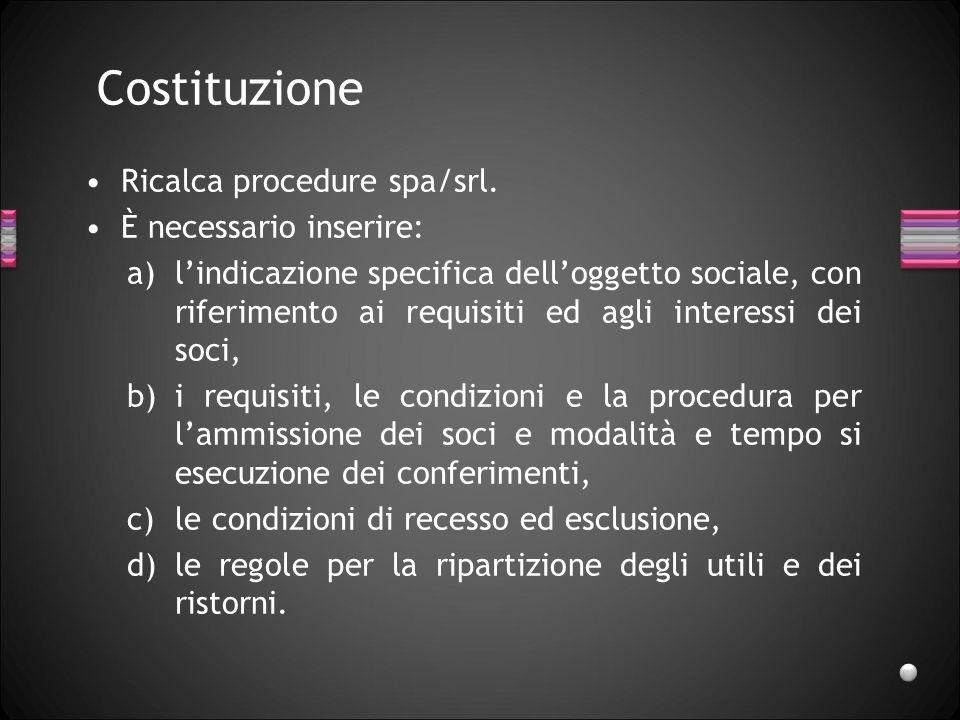 Costituzione Ricalca procedure spa/srl. È necessario inserire: