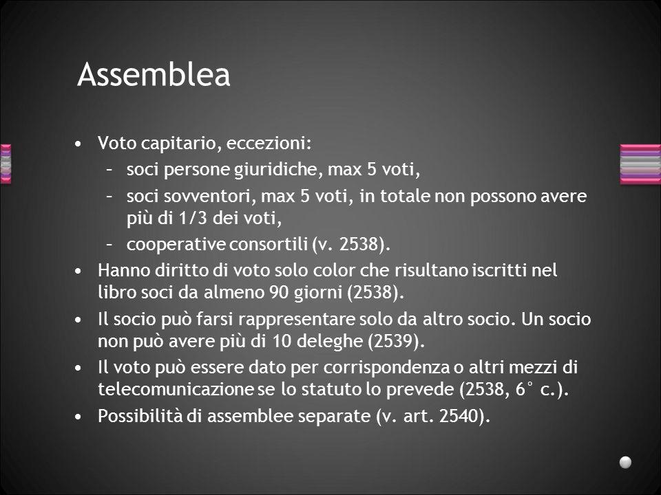 Assemblea Voto capitario, eccezioni: