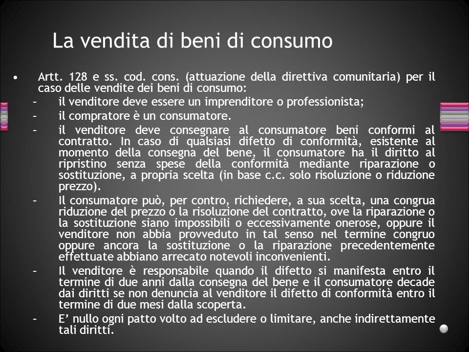 La vendita di beni di consumo
