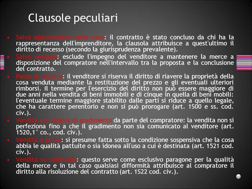 Clausole peculiari