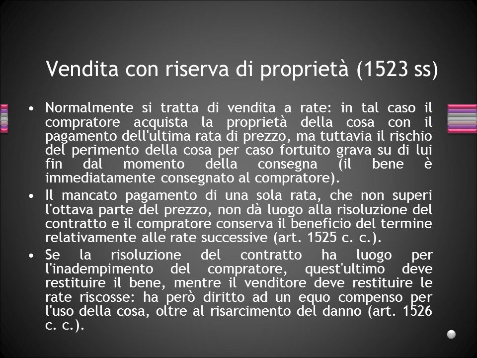 Vendita con riserva di proprietà (1523 ss)