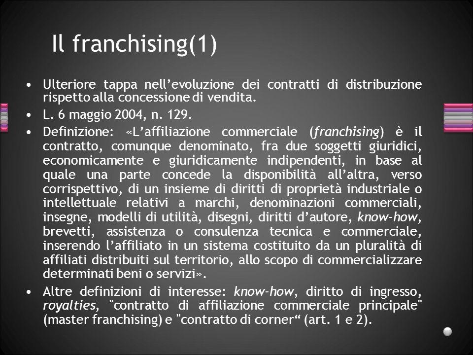 Il franchising(1) Ulteriore tappa nell'evoluzione dei contratti di distribuzione rispetto alla concessione di vendita.