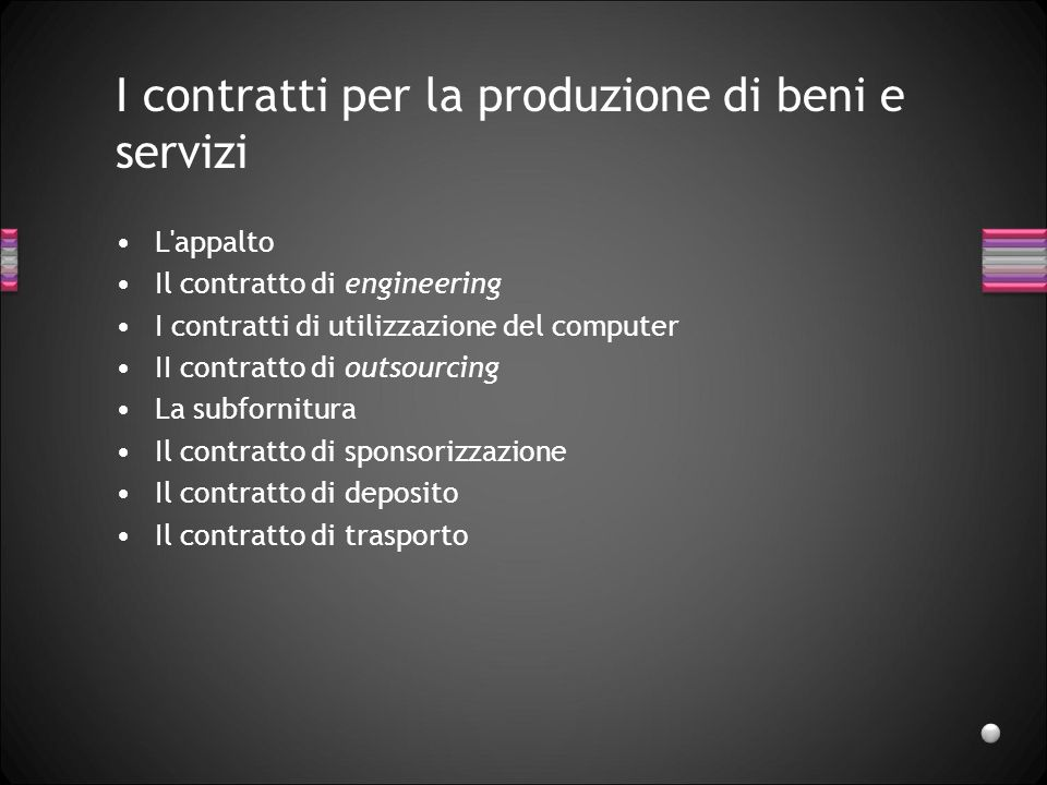 I contratti per la produzione di beni e servizi