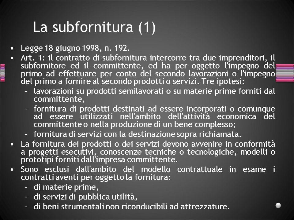 La subfornitura (1) Legge 18 giugno 1998, n. 192.