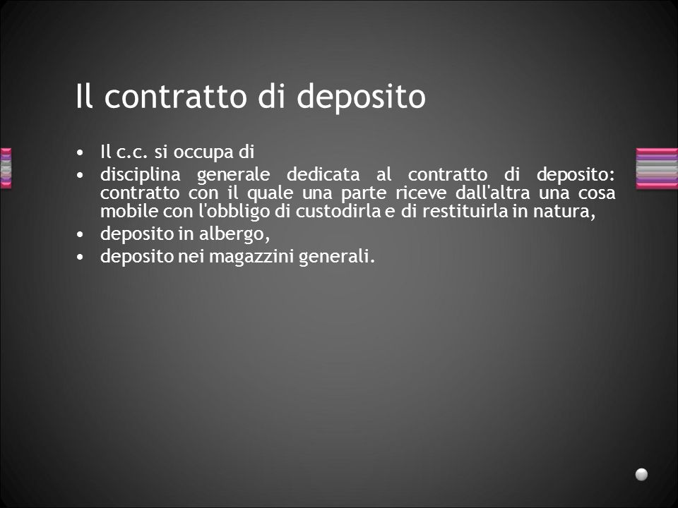 Il contratto di deposito