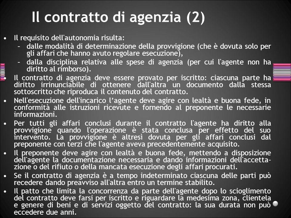 Il contratto di agenzia (2)